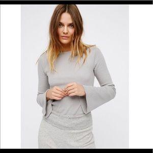 Free People - Ribbed bell sleeve top in grey
